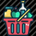 shopping, basket, online, shop, commerce, food