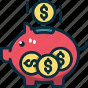 piggy, bank, money, savings, funds, coin