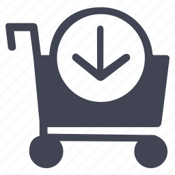 arrow, cart, down, shop, shopping icon