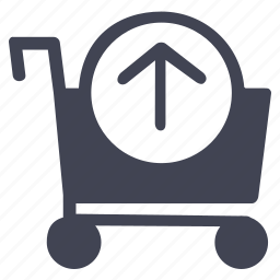 arrow, cart, move, shopping, up, upload icon