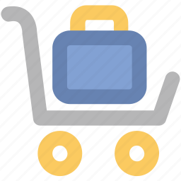 arrival, departure, hotel service, luggage, luggage cart, luggage trolley, trolley icon