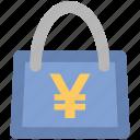 ecommerce, economy, handbag, packaging concept, purchase, web ui, yen sign icon
