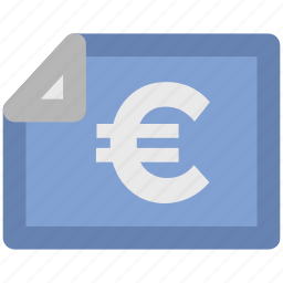 bank document, bank statement, banking, commerce, euro statement, finance, financial document icon