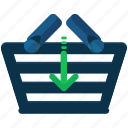 basket, commerce, insert, shopping icon