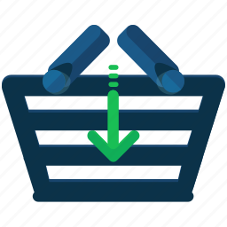 arrow, basket, down, ecommerce, insert, shop, shopping icon