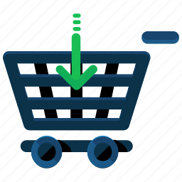 arrow, cart, down, ecommerce, insert, shop, shopping icon