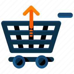 arrow, cart, extract, shop, shopping, up, upload icon