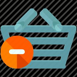 basket, commerce, delete, shopping icon