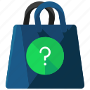 bag, ecommerce, information, question, shop, shopping icon