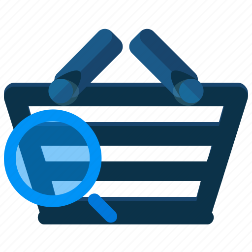 basket, find, purchases, search, shopping icon