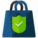 bag, confirm, ecommerce, shopping icon