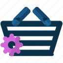 basket, settings, shopping icon