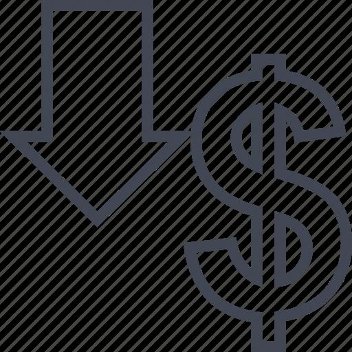 buying, dollar, down, ecommerce, shop, shopping icon
