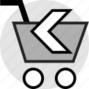 add, arrow, back, cart, left, shopping icon