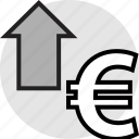 arrow, euro, pay, sign, up icon