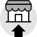arrow, front, go, store, up, upload icon