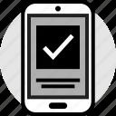 check, mark, mobile, phone, profile icon