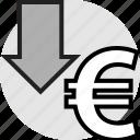 arrow, down, euro, pointer, sign icon