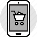 add, cart, go, mobile, shopping icon