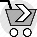 arrow, cart, go, next, shopping icon