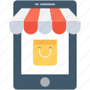 m commerce, online shopping, shopping app, shopping bag, tote bag icon