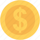 currency coin, dollar, dollar coin, money, usd icon