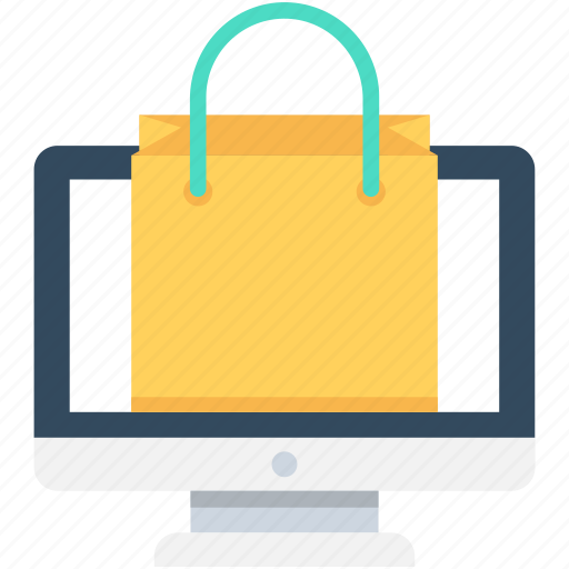 e commerce, monitor, online shop, online shopping, shopping cart icon