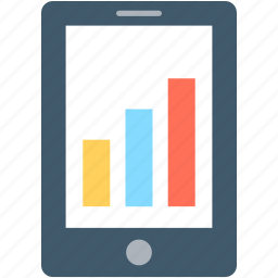 bar chart, bar graph, mobile graph, online graph, online infographics icon