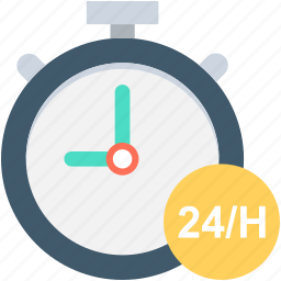 clock, customer service, customer support, full service, twenty four hours icon