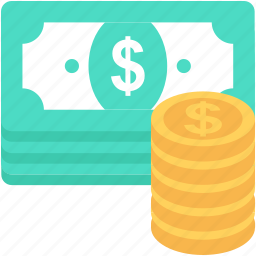cash, coins, dollar coins, paper money, paper notes icon