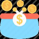 coins, coins sack, dollar, dollar coins, money sack