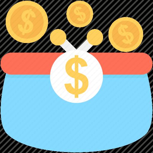 coins, coins sack, dollar, dollar coins, money sack icon