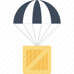 cargo, container, delivery, drop, package, parachute, supply icon