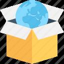 box, cardboard box, globe, package, parcel