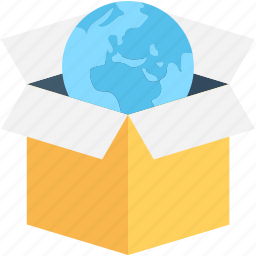 box, cardboard box, globe, package, parcel icon