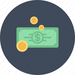 bill, cash, coin, commerce, currency, dollar, money icon