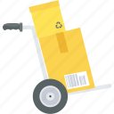 trolley, cart, courier, delivery, fast, package