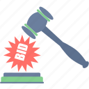 action, auction, bid, justice, law icon