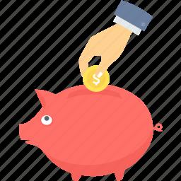 bank, finance, guardar, money, piggy, save, saving, savings icon