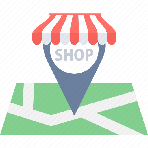 direction, gps, location, map, navigation, shop, shopping icon