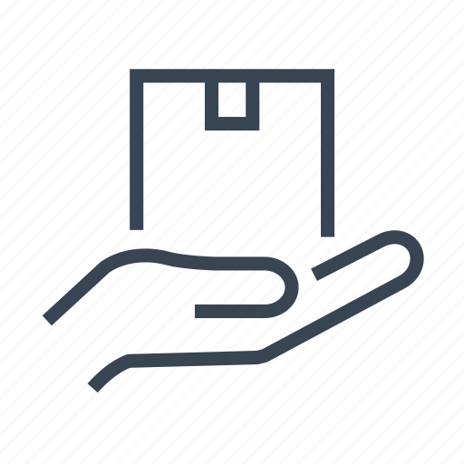box, delivery, hand, logistics, package icon