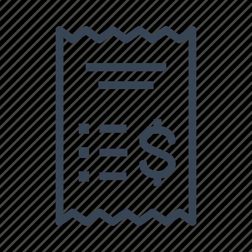 invoice, receipt, shopping icon