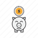 bank, banking, currency, dollar, finance, piggy icon