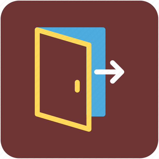 door, exit, home door, logout, opened door, out icon