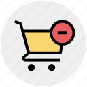 cart, ecommerce, minus, remove, shopping, shopping cart icon