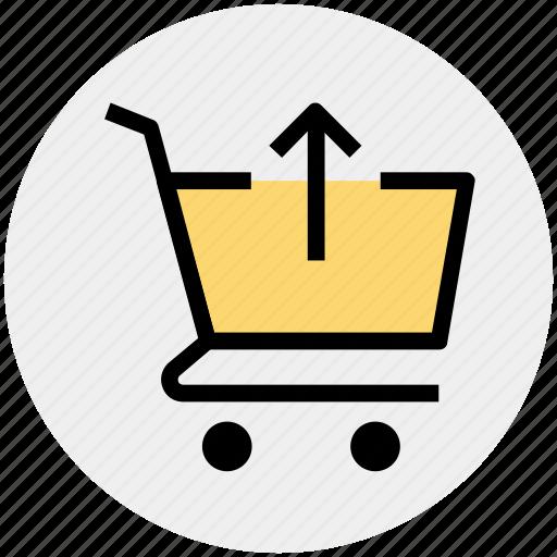 arrow, cart, ecommerce, shopping, shopping cart, up icon