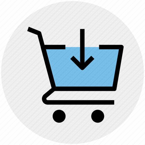 arrow, cart, down, ecommerce, shopping, shopping cart icon