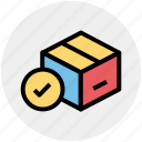 box, carton, check, good, pack, packaging icon