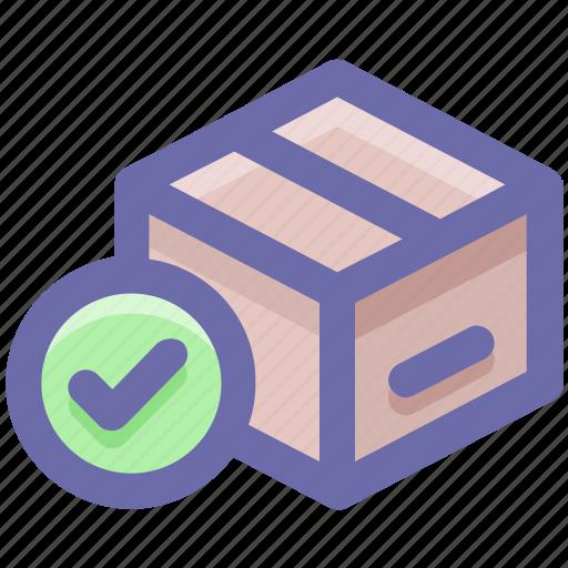 box, carton, check, good, pack, packaging icon