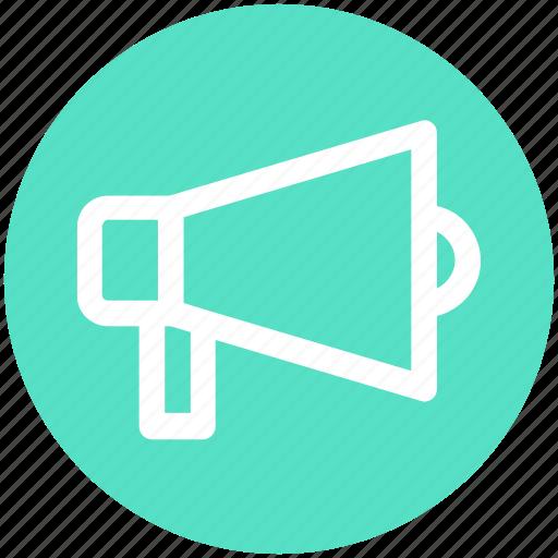 advertising, announcement, attention, loudspeaker, megaphone, round icon